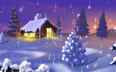 Wooden hut surrounded by thick snow wallpaper