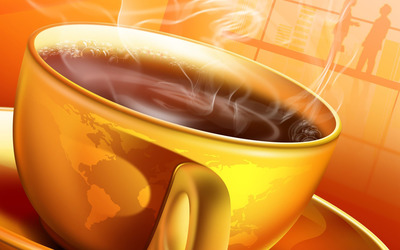 World map coffee cup wallpaper