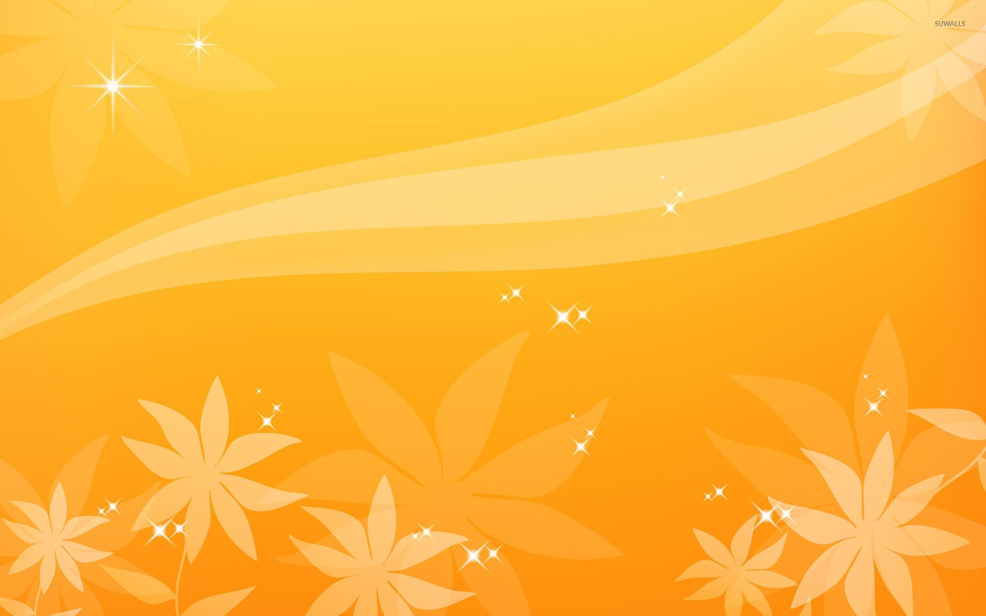 yellow sparkling flowers wallpaper digital art