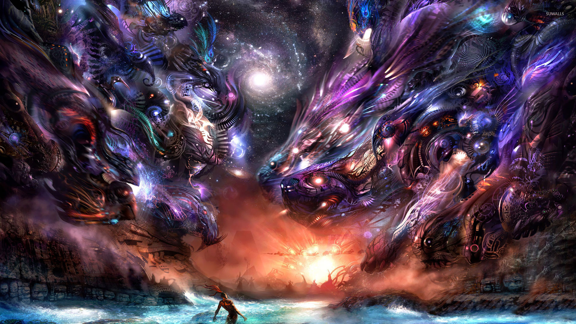 Alien dragons attacking wallpaper - Fantasy wallpapers ...
