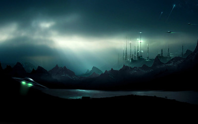 Aliens attacking the city wallpaper