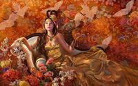 Amazing geisha lying on the chair wallpaper 1920x1200 jpg