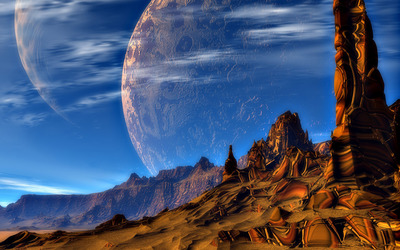 Amazing planets above the canyon Wallpaper