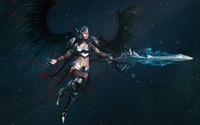 Angel warrior with black wings and a magical sword wallpaper 1920x1200 jpg