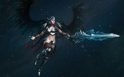 Angel warrior with black wings and a magical sword wallpaper