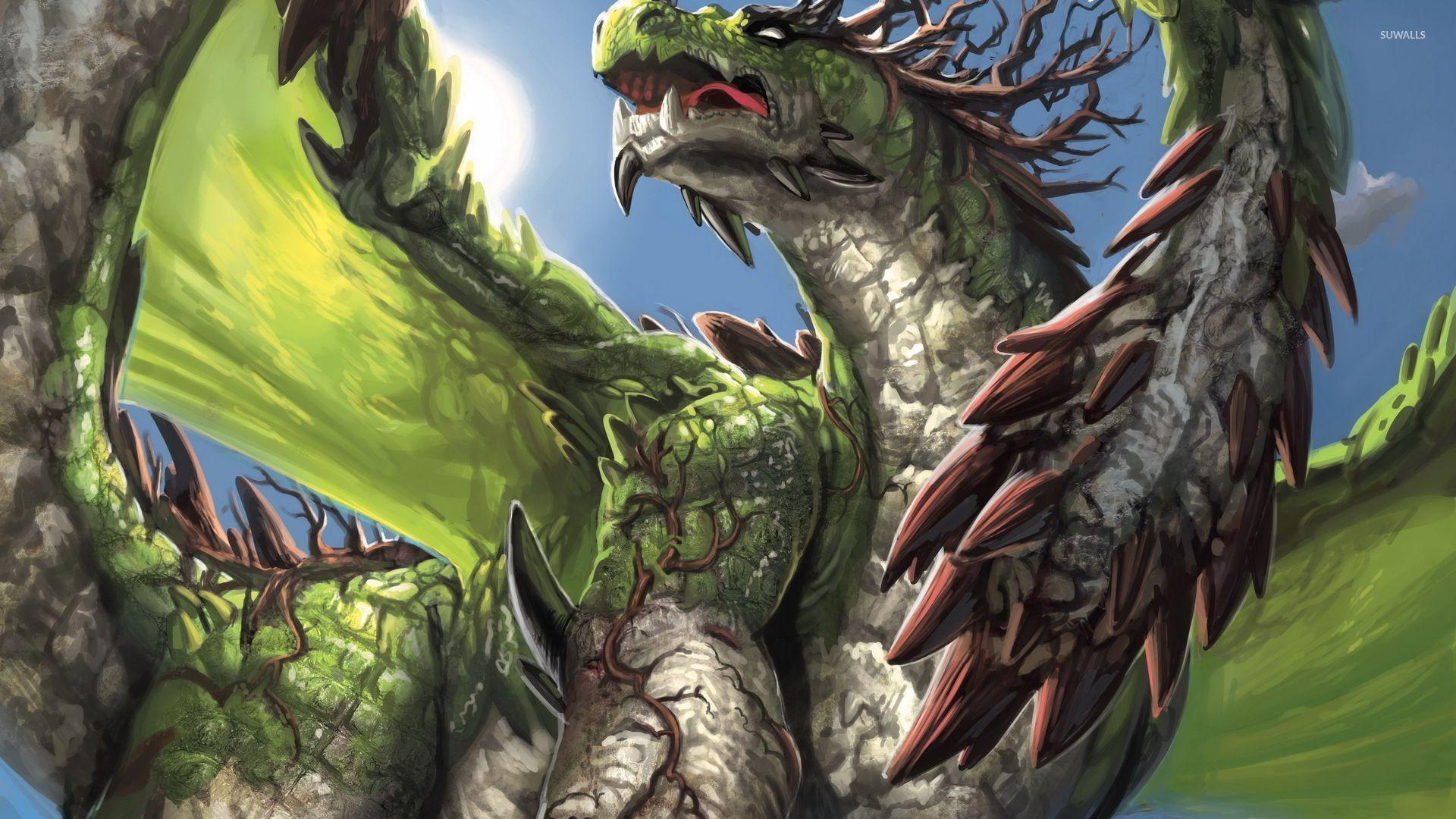 Angry Green Dragon Wallpaper