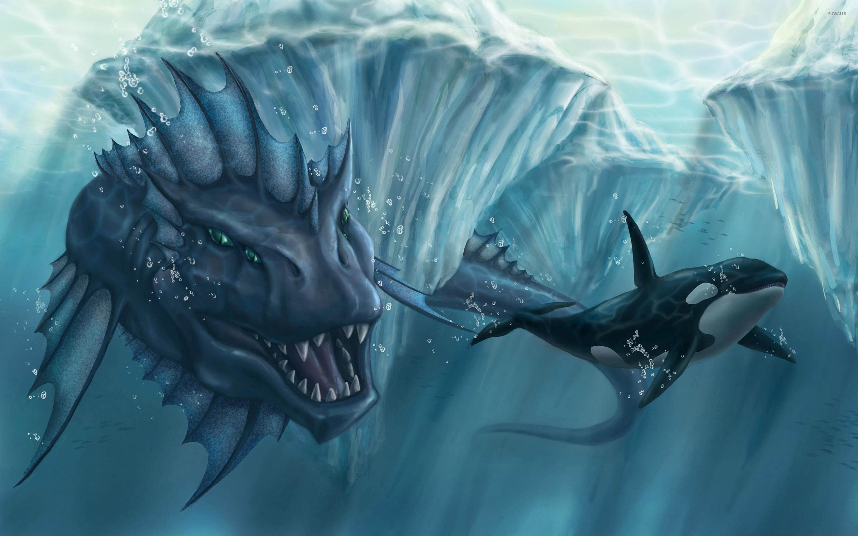 Aquatic Creature Chasing An Orca Wallpaper Fantasy