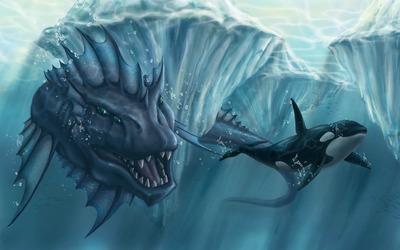 Aquatic creature chasing an orca wallpaper