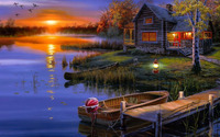 Autumn sunset at the lakeside house wallpaper 1920x1080 jpg