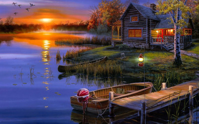 Autumn sunset at the lakeside house wallpaper