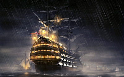 Battleship in the rain wallpaper