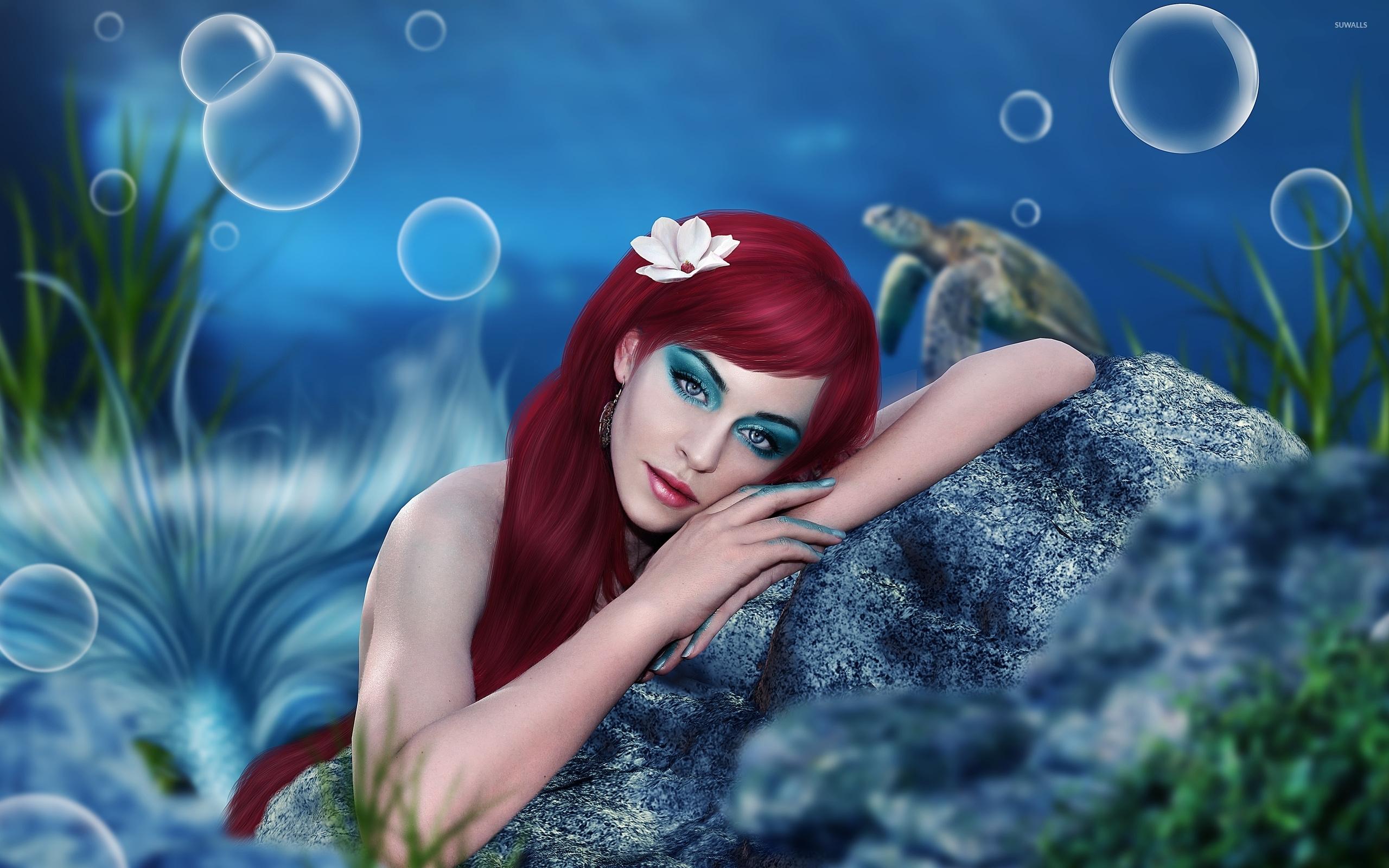 Beautiful redhead merm... Fantasy Mermaids On Rocks
