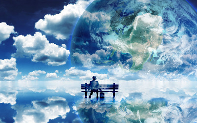 Bench in the clouds wallpaper
