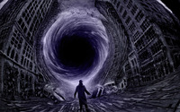 Black hole sucking the city wallpaper 1920x1200 jpg