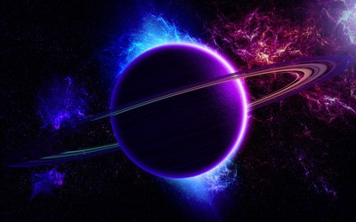 Blue and purple planet wallpaper