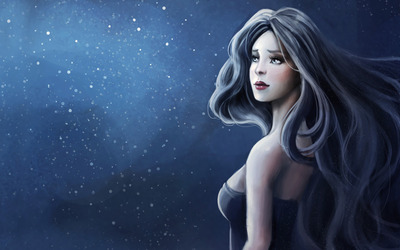 Blue haired woman wallpaper
