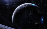 Blue lights on the black planet wallpaper 1920x1200 jpg
