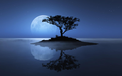 Blue moon over the water wallpaper