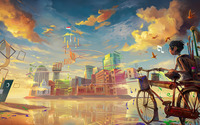 Boy entering colorful city by bike wallpaper 1920x1200 jpg