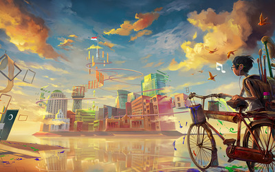 Boy entering colorful city by bike wallpaper