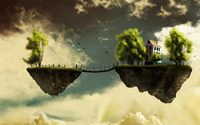 Bridge between two floating islands wallpaper 1920x1080 jpg