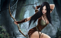 Brunette elf in the forest wallpaper 1920x1080 jpg