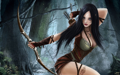 Brunette elf in the forest wallpaper