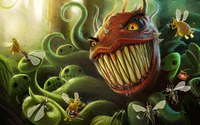 Bugs fighting a carnivore plant wallpaper 1920x1200 jpg