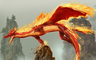 Burning dragon flying above the rocks wallpaper