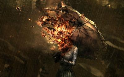 Burning girl in the rain wallpaper
