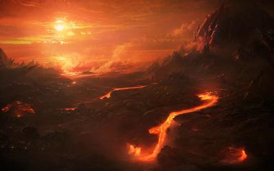 Burning mountains at sunset wallpaper