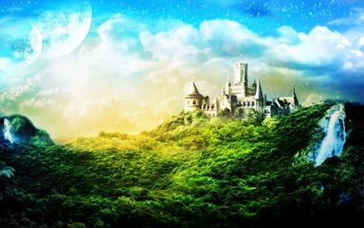 Castle and Two Moons wallpaper