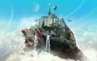 Castle in a hand wallpaper
