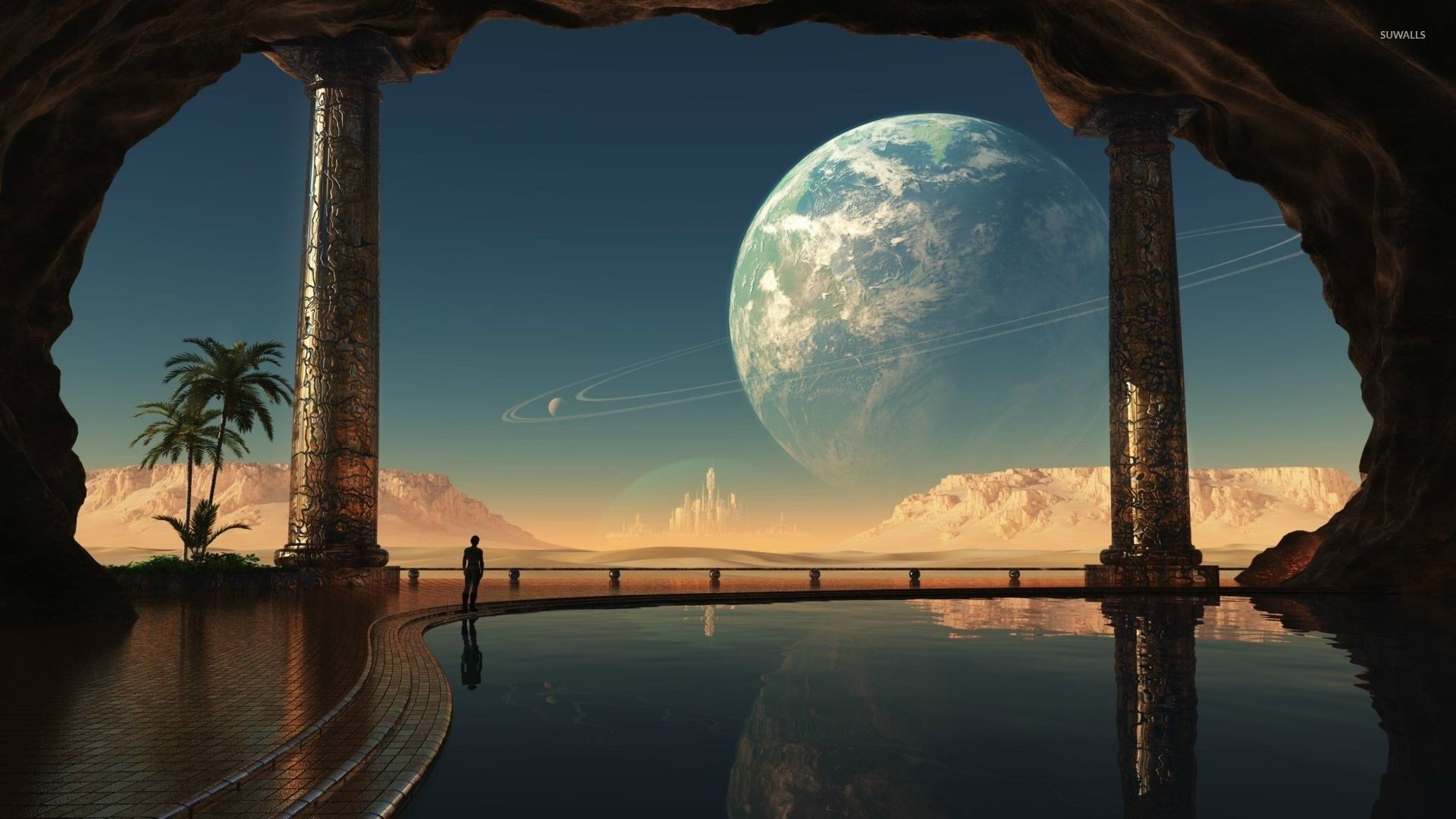 Castle on the alien planet wallpaper Fantasy wallpapers