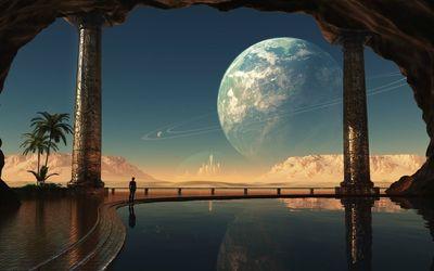 Castle on the alien planet wallpaper