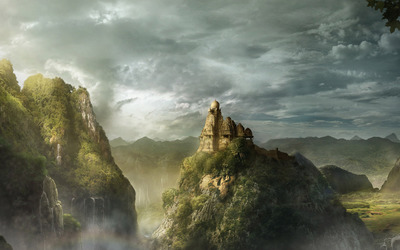 Castle on the mountain peak wallpaper