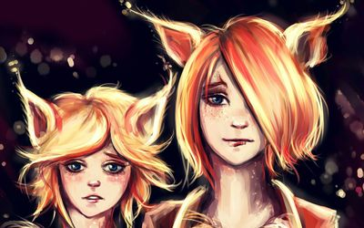 Cat eared girls wallpaper
