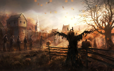 Chained slaves walking past the scarecrow wallpaper