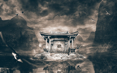 Chinese temple wallpaper
