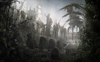 Church ruins wallpaper