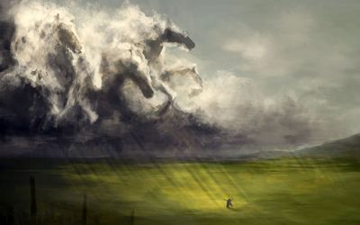 Cloud horses wallpaper