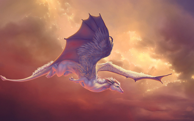 Cute baby dragon flying wallpaper
