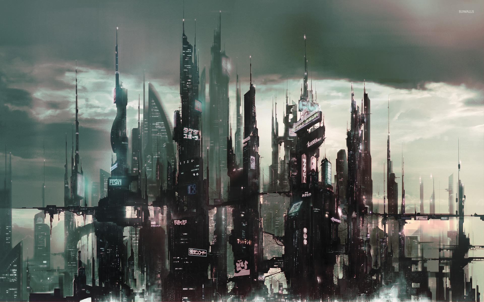 Cyberpunk Asian City Wallpaper