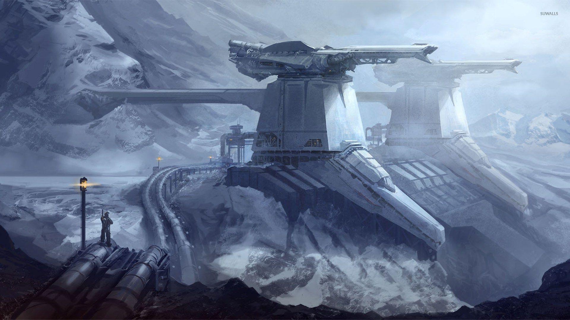 Fantasy Winter Mountain Snow Weapon Fortress Cyberpunk 1920x1080 jpg