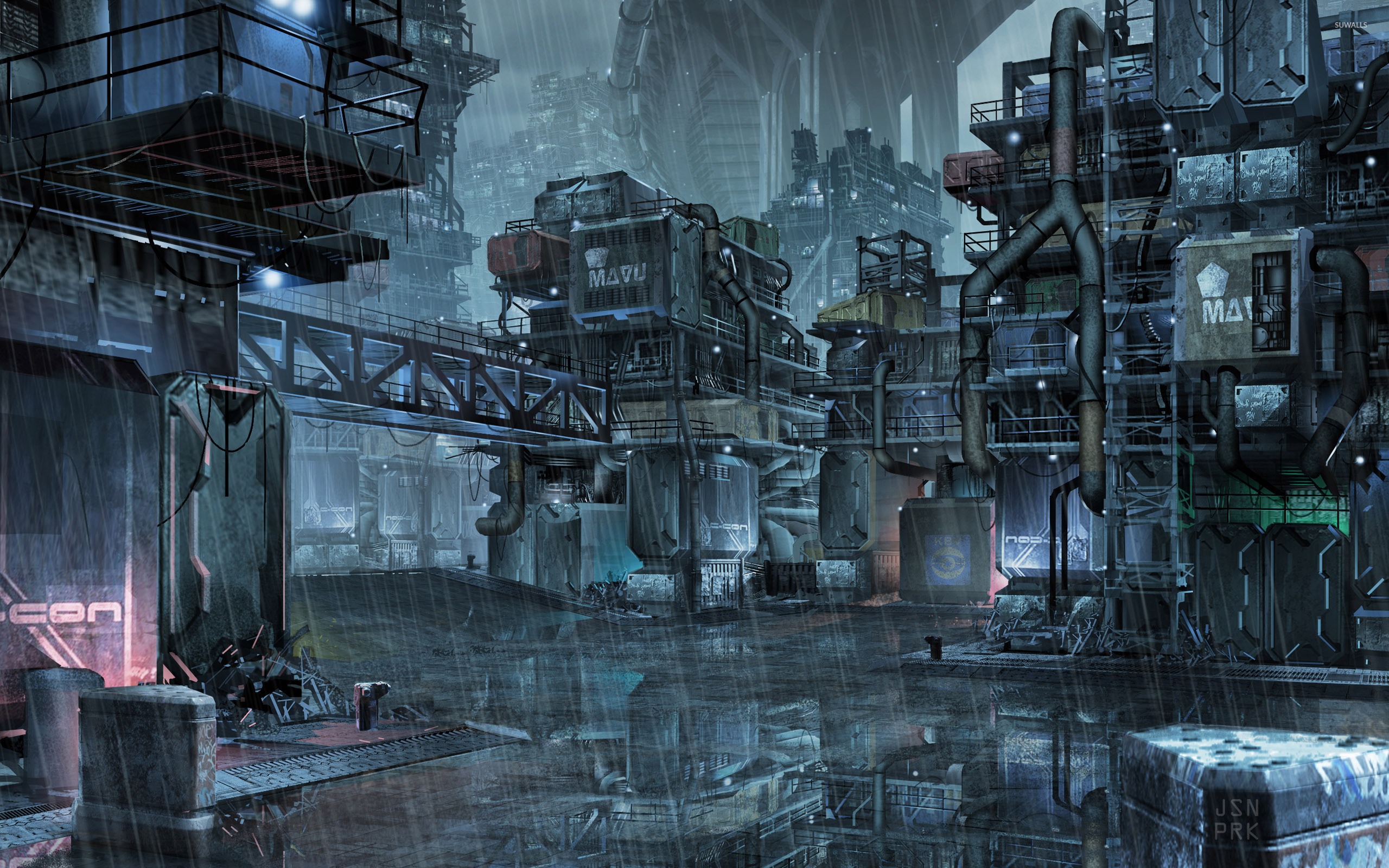 Cyberpunk slums of the future wallpaper
