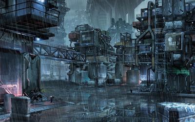 Cyberpunk slums of the future wallpaper
