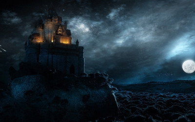 Dark castle on the coast wallpaper