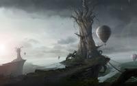 Dead trees on cliffs wallpaper 2560x1600 jpg