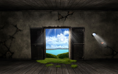 Door to nature wallpaper