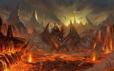 Dragon and Lava wallpaper